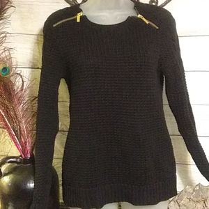 micheal Kors black sweater with gold zippers